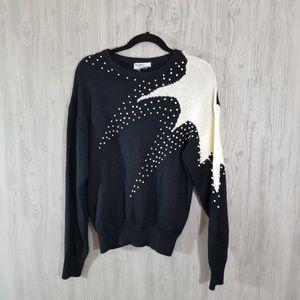 Vintage Starburst Faux Pearl Black White Sweater M